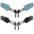 MZ Universal Motorcycle Aluminium CNC Pentagon Anti-Glare Rearview Mirrors - Black + Blue