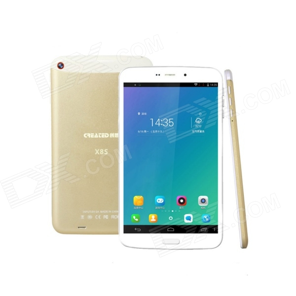 CREATED X8S 8 IPS Android 4.4 Octa-Core 3G Phone Tablet PC w/ 1GB RAM, 16GB ROM, UK Plug - Golden colorfly g718 7 ips octa core android 4 2 wcdma 3g tablet pc w 1gb ram 16gb rom wi fi bluetooth
