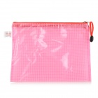 CS-334 Mesh Pattern Plastic A5 File / Document Zipper Bag - Translucent Pink + White