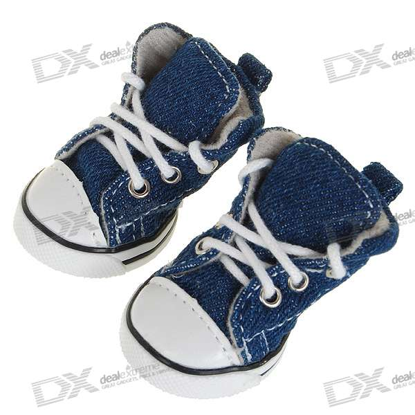 Cute Runner Boot Shoes for Dogs/Cats - Size 2 (Blue/4-Shoe Set