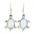 FenLu MYSWG12 Women's Fashion Tortoise Shaped Opal + Copper Earrings - Blue + Silver (Pair)