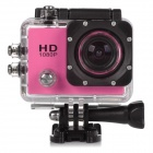 "HD 1080P 2.0"" Screen Waterproof Sport CCD 12MP Wide Angle Camera - Pink + Black"