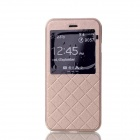 "Grid Pattern PU Leather Case w/ View Window for IPHONE 6 4.7"" - Gold"