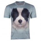 XINGLONG Men's 3D Printing Dog Head Patterned Short-sleeved T-shirt - Greyish Green (Size XL)