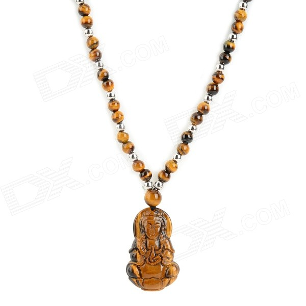 FenLu HYGY03 Goddess of Mercy Shaped Tiger's Eye Quartz Pendant Necklace - Brown + Silver (49cm) punk eye shaped pendant women men s necklace