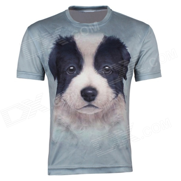 XINGLONG Men's 3D Printing Dog Head Patterned Short-sleeved T-shirt - Greyish Green (Size XXL) женские часы casio ltp 1236pl 7b