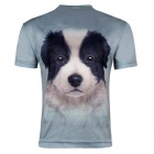 XINGLONG Men's 3D Printing Dog Head Patterned Short-sleeved T-shirt - Greyish Green (Size XXL)