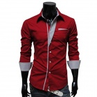 Men's Fashionable Long-Sleeve Slim Fit Cotton Shirt - Red( L)