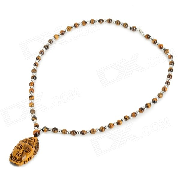 FenLu HYSGYT Buddha Head Shaped Tiger's Eye Beads Pendant Necklace - Brown + Silver punk eye shaped pendant women men s necklace