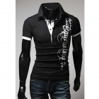 Men's Letters Printed Cotton Turndown Collar Slim Polo Shirt - Black (L)