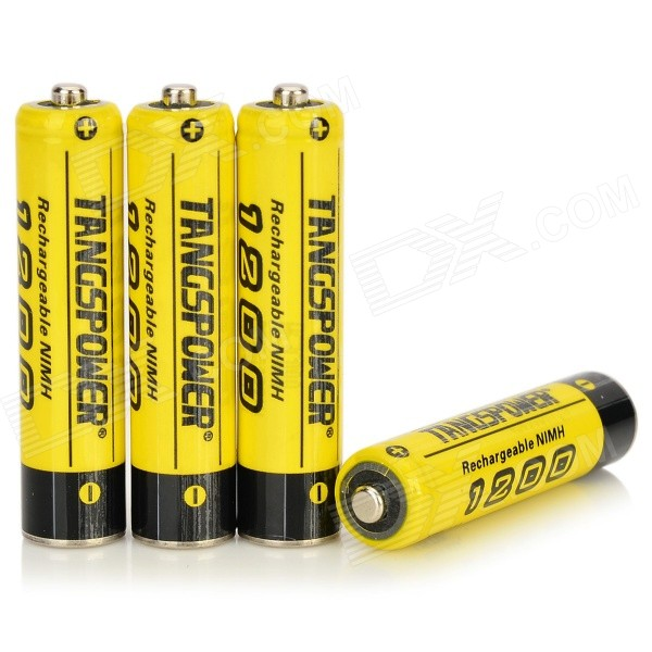 TANGSPOWER 1.2V 700mAh Rechargeable Ni-MH AAA Batteries - Black + Yellow (4 PCS)