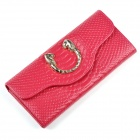 PL-91 Women 's Fashionable Alligator Grain Long Leather Wallet Clutch Bag - Red