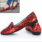 Women's Stylish Paillette Flat Shoes - Red + Silver (Pair / Size 37)