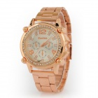 Women's  Round Dial Steel Band Quartz Analog Wrist Watch - Rose Gold