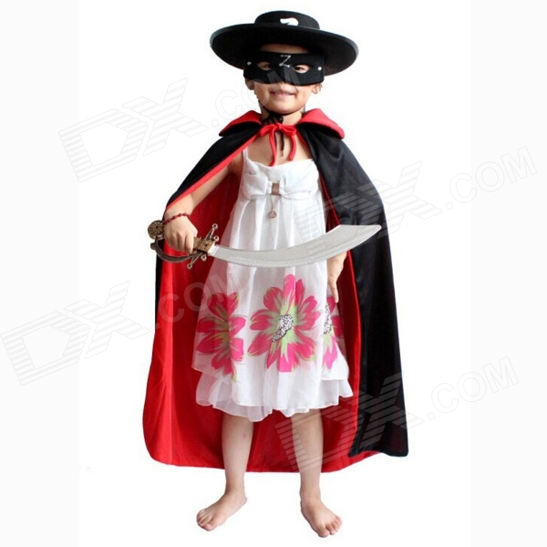 Children's Halloween Prop Double-sided Cloak for Costume Party - Black + Red