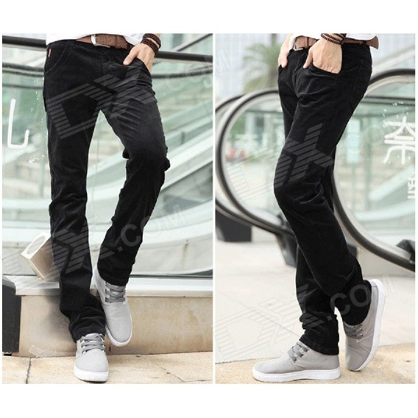 BaiBianJiaoDu 805 Men's Autumn / Winter Wear Corduroy Casual Pants - Black (Size 32)