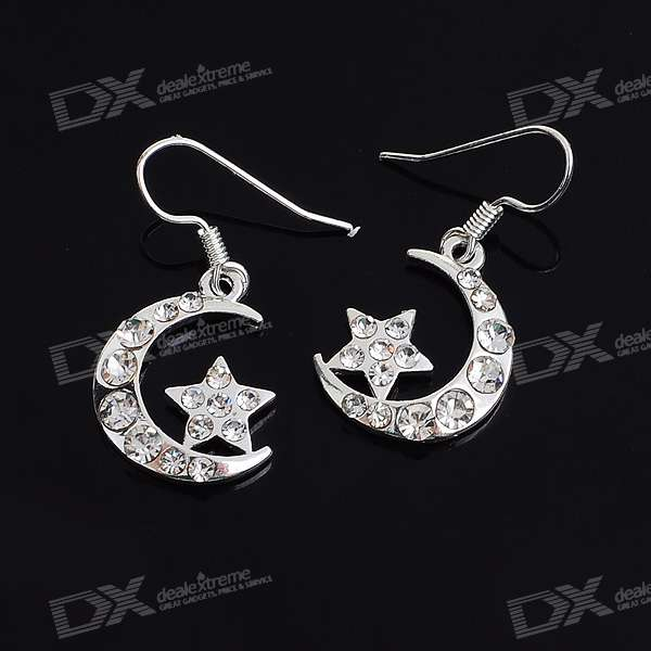 Crystal Crescent + Star Silver Plated Earring (Pair) charming plum blossom silver plated earring pair