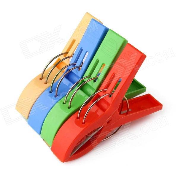 Large Plastic Spring Clamps Clips / Clothes Pins Pegs - Multi-colored (4pcs)