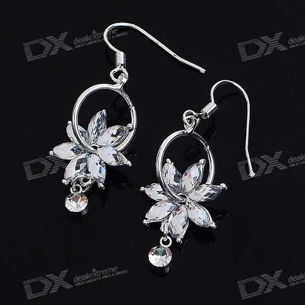 Charming Crystal Flower Silver Plated Earring (Pair) charming plum blossom silver plated earring pair