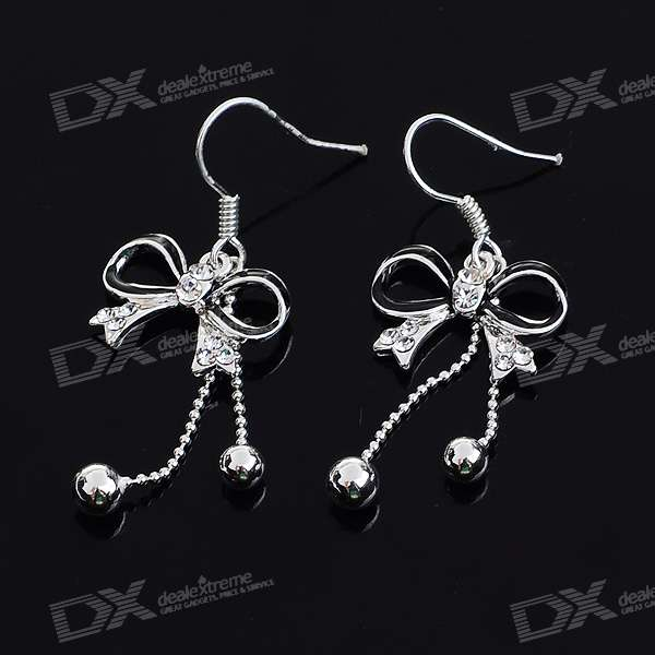 Charming Crystal Bowknot Silver Plated Earring (Pair)