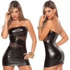 XXFS-X601 Women's Sexy Slim Strapless Nightclub Dress w/ T-back - Black