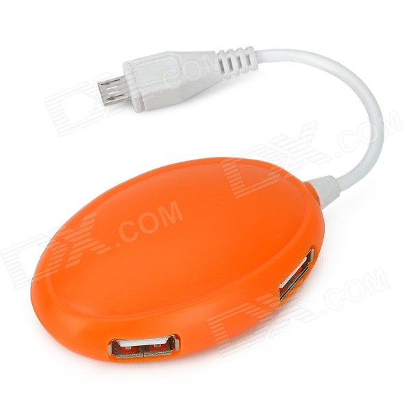 Mini Cute Style Micro USB + 4-Port USB 2.0 HUB - White + Orange