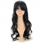 SYSH011 Fashion Tilted Frisette Long Curly Wig - Black
