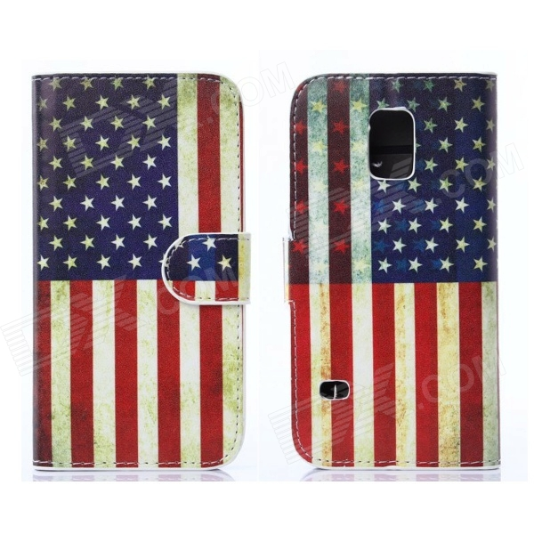 Hat-Prince US Flag Pattern PU Leather Case w/ Card Slots for Samsung Galaxy S5 Mini - Multicolored statue of liberty pattern protective pu flip open case w strap card slots for samsung galaxy s5