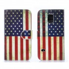 Hat-Prince US Flag Pattern PU Leather Case w/ Card Slots for Samsung Galaxy S5 Mini - Multicolored