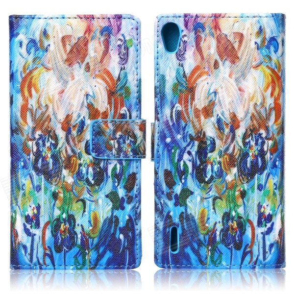 ENKAY Flowers Pattern Protective Case w/ Card Slots and Holder for Huawei Ascend P7 - Multicolor flowers pattern protective flip open pu silicone case w card slots holder for huawei ascend p7