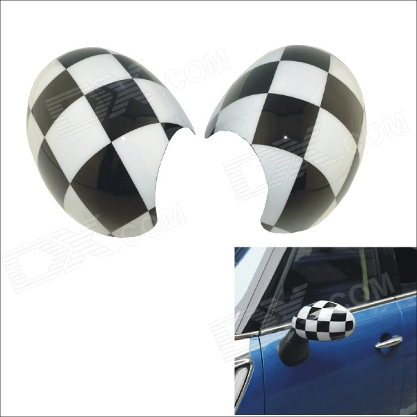 Carking Grid Pattern ABS UV Protected Car Door Mirror Cover Stickers - White + Black (2 PCS)
