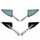 MZ Universal Motorcycle Aluminium CNC Triangle Rearview Anti Glare Mirrors - Black + Blue + Silver