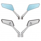 MZ Universal Motorcycle Aluminium CNC Rearview Anti Glare Mirrors - Silver + Blue