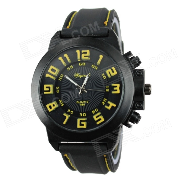 Men's 3D Digital Style Black Case Silicone Band Quartz Wrist Watch - Black + Yellow
