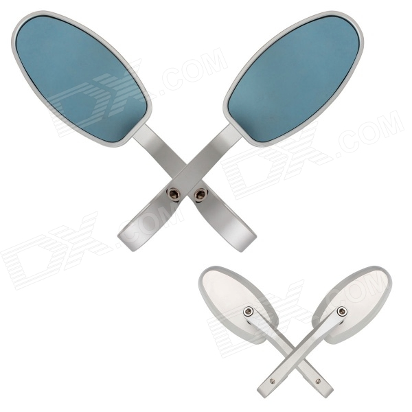 MZ Universal Motorcycle Aluminium CNC Oval Rearview Anti Glare Mirrors - Blue + Silver