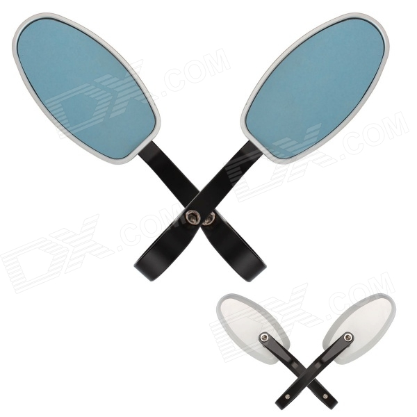 MZ Universal Motorcycle Aluminium CNC Oval Rearview Anti-Glare Mirrors - Blue + Black
