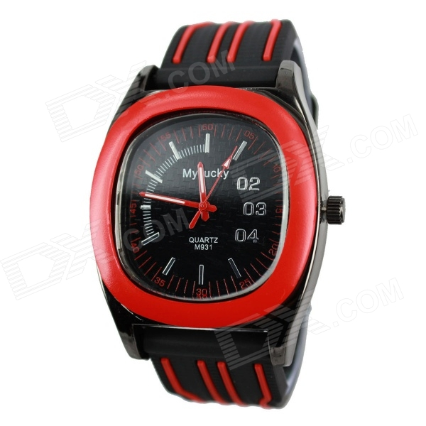 Sports Stripe Scale Style Black Case Silicone Band Anolog Quartz Wrist Watch - Red + Black (1 x 377)
