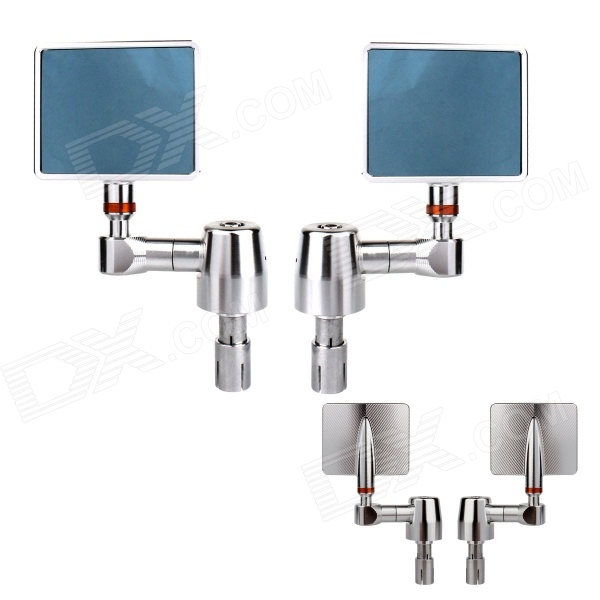 MZ Universal Motorcycle Aluminium CNC Square Anti-Glare Rearview Mirrors - Blue + Silver