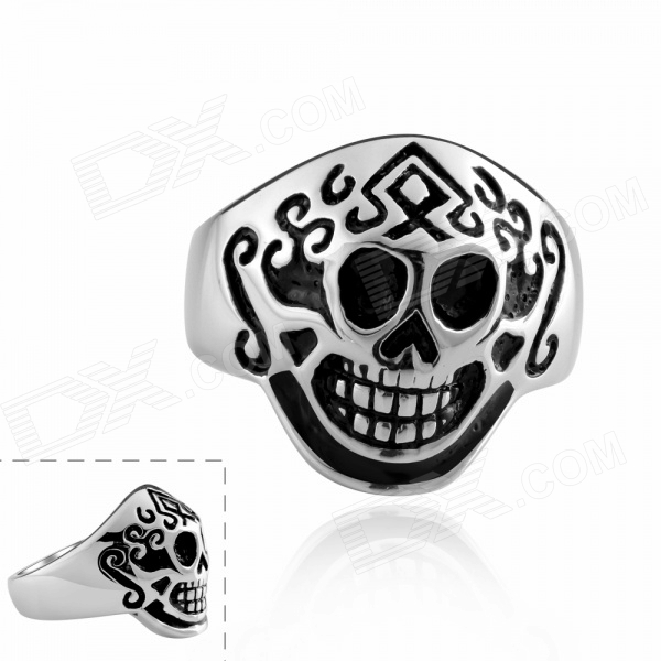 R008-9 Cool Pirate Hat Shaped 316L Stainless Steel Ring - White + Black (U.S Size 9) creative oil drum shaped stainless steel ashtray pen holder black white