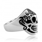 R008-9 Cool Pirate Hat Shaped 316L Stainless Steel Ring - White + Black (U.S Size 9)