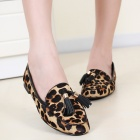Fashion Tassels Ornament Leopard Pattern Flat Shoes Loafers Shoes - Black + Leopard (Pair / Size 38)