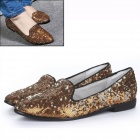 Women's Stylish Paillette Flat Shoes - Golden + Silver (Pair / Size 37)