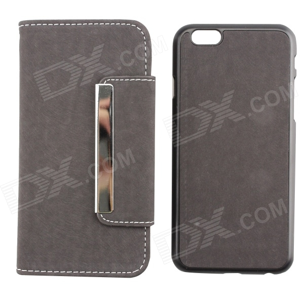 PU Leather + PC Wallet Style Flip Open Case w/ Card Slot for 4.7 IPHONE 6 - Gray wallet style magnet buckle pu leather flip open case w stand card slot strap for iphone 6 4 7
