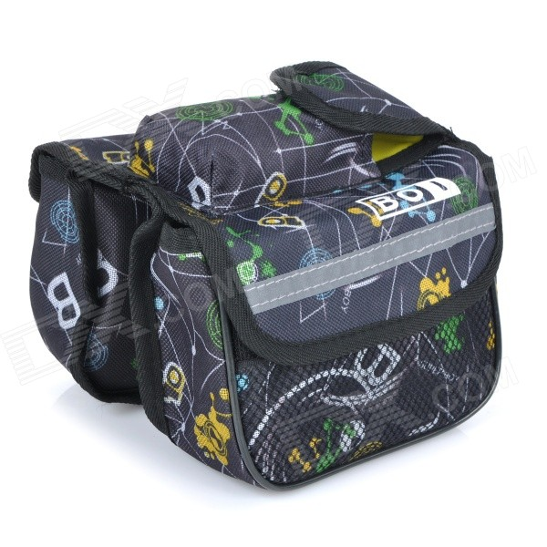BOI 12898 Stylish bicicleta Fram Bicicleta Top Tubo Duplo Bag - Preto + Multi-colored