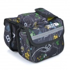 BOI 12898 Stylish Bike Bicycle Fram Top Tube Double Bag - Black + Multi-colored