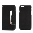 "PU Leather + PC Wallet Style Flip Open Case w/ Card Slot for 4.7"" IPHONE 6 - Black"