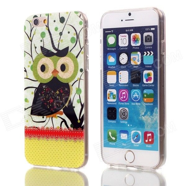 Shimmering Owl Pattern Protective TPU Back Case for 4.7 IPHONE 6 - Green + Black + Multi-Color owl pattern protective tpu back case for samsung galaxy s5 green black