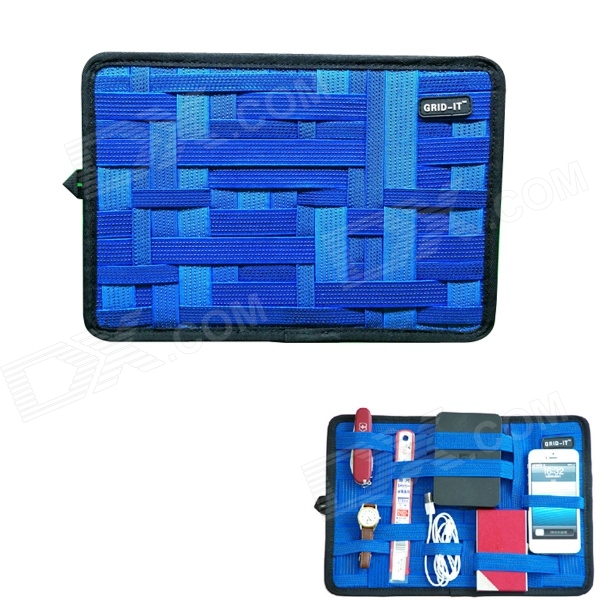 COCOON GRID-IT Creative Storage / Sorting Elastic Bands w/ Zipper Pouch Bag - Blue + Black (L)