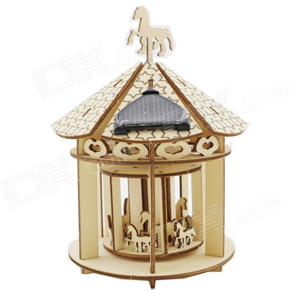Diy solar powered handmade wooden carousel preschool assembled model - wood...