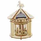 DIY Solar Powered Handmade Wooden Carousel Preschool Assembled Model - Wood